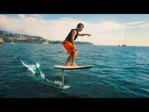 ELECTRIC HYDROFOIL SURFING IN MONACO.