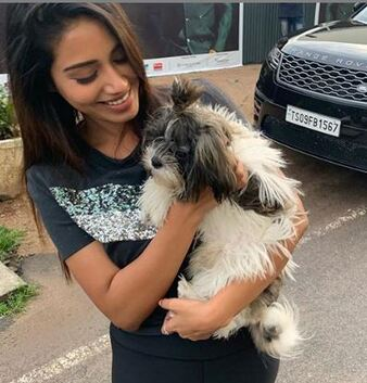 Nivetha Pethuraj with her dog