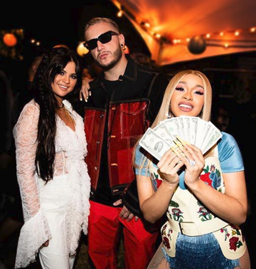 Selena Gomez with Dj snake and Cardi B at Coachella 2019.